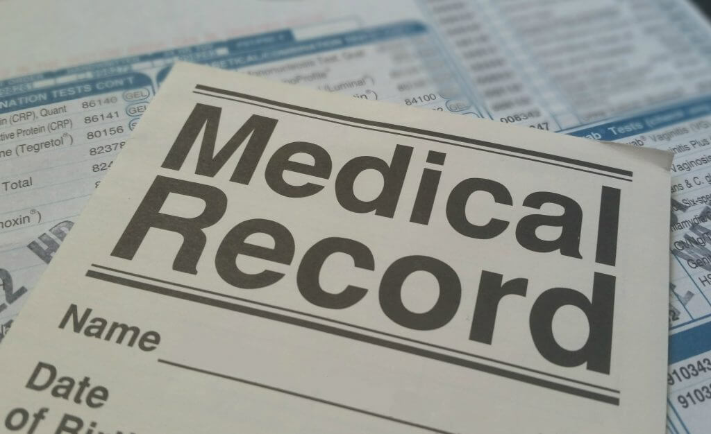 Image of a medical record