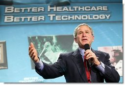 Image of President George Bush giving a speech about the implementation of the electronic medical record and better healthcare, through use of better technology