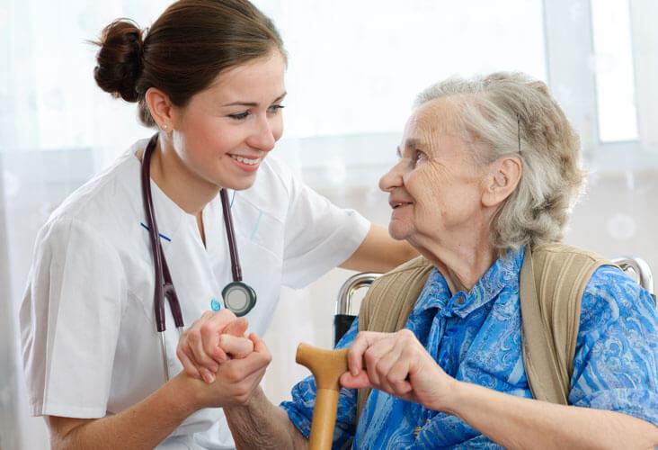 nursing home, nurse and patient